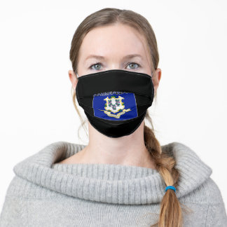 Connecticut State Text Flag Adult Cloth Face Mask