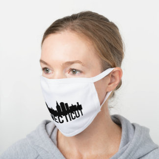 Connecticut US State Design For Connecticuters White Cotton Face Mask