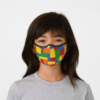 Construction Toy Building Blocks Pattern Kid's Premium Face Mask
