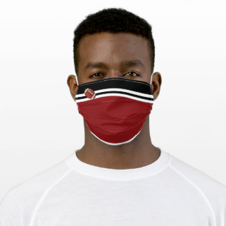 Contemporary Football/ Maroon and Black design Adult Cloth Face Mask