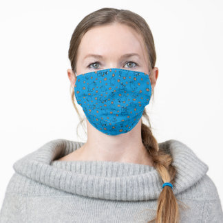 Cookie Monster and Cookies Blue Pattern Adult Cloth Face Mask