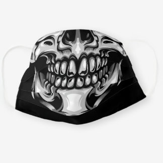 Cool black and silver human skull face drawing cloth face mask