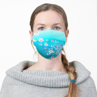 Cool blue ombre, white and pink cherry blossoms adult cloth face mask