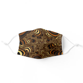 Cool Brown Striped Fractal. Adult Cloth Face Mask