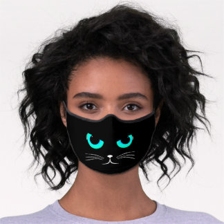 Cool cat blue eyes and whiskers premium face mask