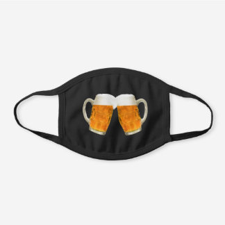 Cool Clinking Beer Mugs Black Cotton Face Mask