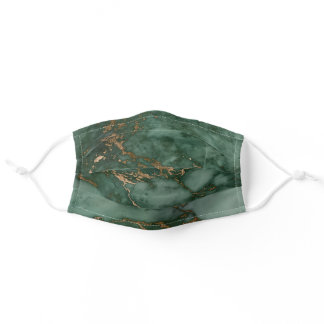 Cool Dark Green & Faux Copper Marble Pattern Adult Cloth Face Mask