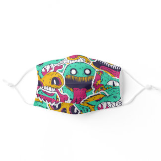 Cool Graffiti Crazy Monsters Pattern Adult Cloth Face Mask