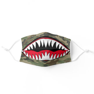 Cool green camo pattern red white shark teeth mens adult cloth face mask