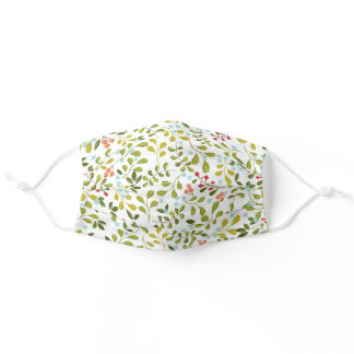 Cool Green Leaf Floral Pattern For Her Adult Cloth Face Mask