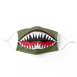 Cool green plane rivets red white shark teeth mens adult cloth face mask