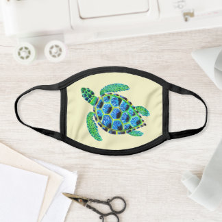 cool green sea turtle in acrylic face mask