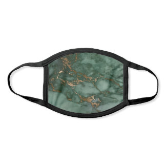 Cool Hunter Green & Faux Copper Marble Pattern Face Mask