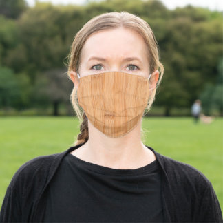 Cool light brown bamboo wood print adult cloth face mask