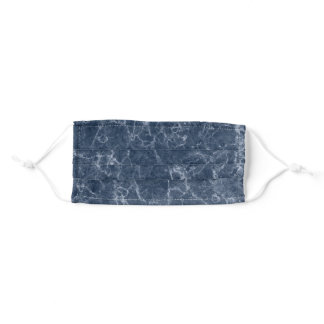 Cool Navy Blue Marble Pattern Adult Cloth Face Mask