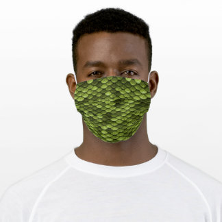 Cool Olive Green Dragon Dinosaur Scale Print Adult Cloth Face Mask