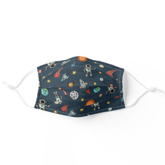 Cool Outer Space Astronauts & Planets Pattern Adult Cloth Face Mask