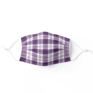 Cool Purple and White Plaid Pattern Adult Cloth Face Mask