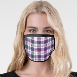 Cool Purple and White Plaid Pattern Face Mask
