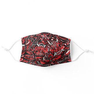Cool red samurai Japanese art tattoo style pattern Adult Cloth Face Mask