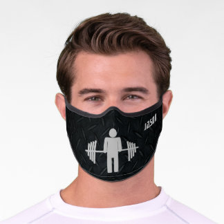 Cool Rugged Gym Workout Barbell Weightlifting Men Premium Face Mask