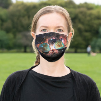 Cool Space Cat with Telescope Glasses in space Adult Cloth Face Mask