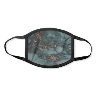 Cool Teal & Faux Copper Marble Pattern Face Mask