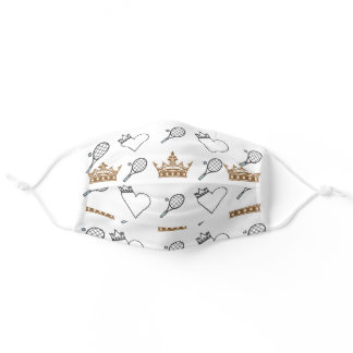 Cool Tennis and Brown Crowns Heart Pattern White Adult Cloth Face Mask