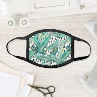 Cool Tropical Botanical Banana Leaf & Dot Print Face Mask