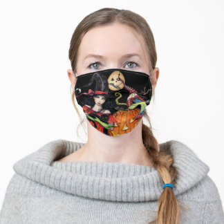 Cool Unique Halloween Witch Art Adult Cloth Face Mask