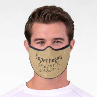 Copenhagen Latitude and Longitude Premium Face Mask