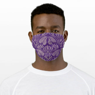 Coptic embroidery pattern  - Purple  leaves Adult Cloth Face Mask