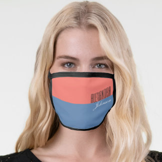 Coral and Blue Modern Name Monogram Face Mask
