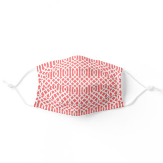 Coral and White Trellis Pattern Adult Cloth Face Mask