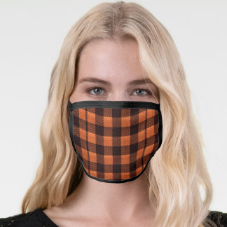 Coral Orange Gingham Checkered Pattern Burlap Look Face Mask