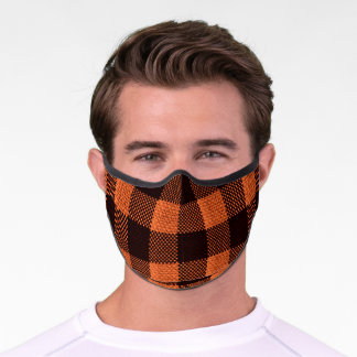 Coral Orange Gingham Checkered Pattern Burlap Look Premium Face Mask