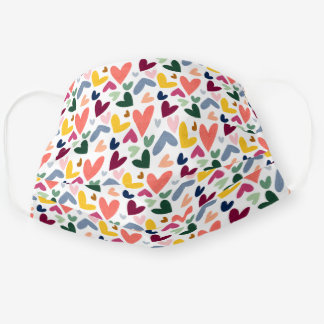 Coral Orange Mint Green Pink Blue Heart Pattern Cloth Face Mask