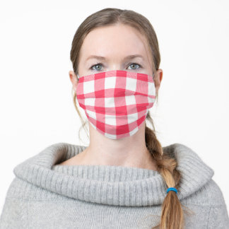 Coral Pink and White Buffalo Plaid Gingham Adult Cloth Face Mask