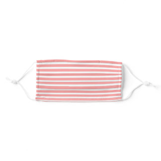 Coral Pink and White Stripe Adult Cloth Face Mask