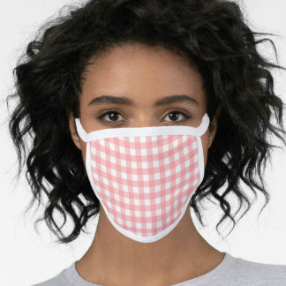 Coral Pink Simple Gingham Checks Plaid Pattern Face Mask