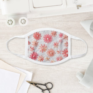 Coral Stitched Flowers Face Mask