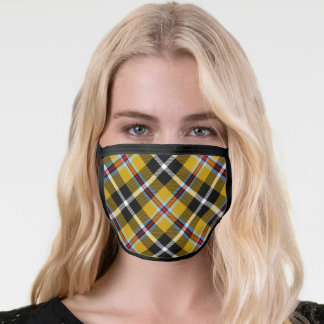 Cornish National Tartan Yellow and Black Plaid Face Mask