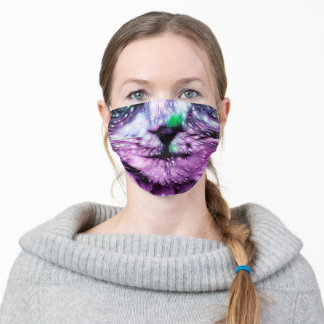Cosmic Galaxy Cat Starry Skies Purple And Green Adult Cloth Face Mask