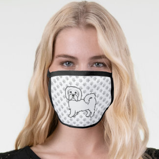 Coton De Tulear Cute Cartoon Dog & Paws Face Mask