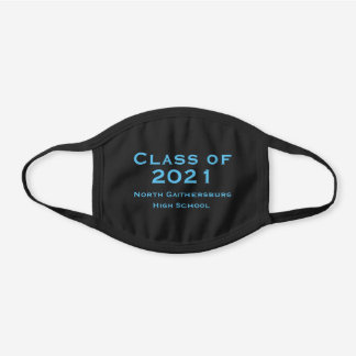 COTTON Solid Black and Blue Graduation 2021 Black Cotton Face Mask