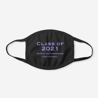 COTTON Solid Black and Purple Graduation 2021 Black Cotton Face Mask