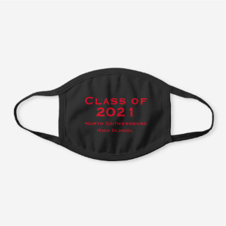 COTTON Solid Black and Red Graduation 2021 Black Cotton Face Mask