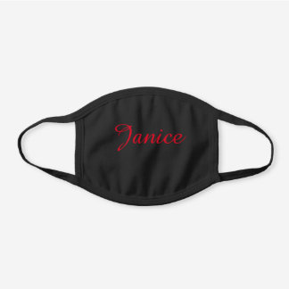 COTTON Solid Black and Red Script Name Black Cotton Face Mask