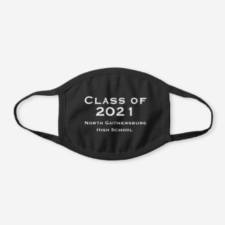 COTTON Solid Black and White Graduation 2021 Black Cotton Face Mask