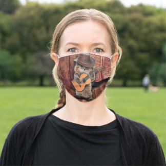 Country Cat - guitarist Cat - funny cat Adult Cloth Face Mask